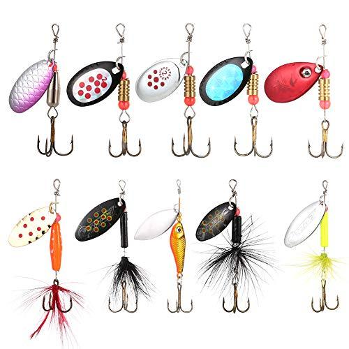 10pcs Leurres de Pêche Cuillers de Pêche Leurre...