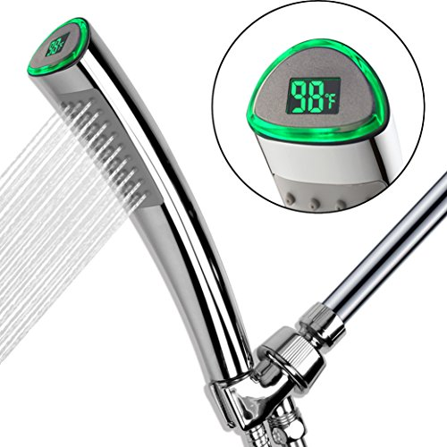 YOO.MEE LED Thermometer Handheld Shower Heads, Water Powered Light to Display Fahrenheit, Special for Skin Showering, Child and Pet Shower, Shower Accessories w/ 79'' Hose, Bracket, Polished Chrome