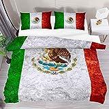 HARXISE Flagge von Mexiko oder mexikanische Vintage Bettwäsche Bettbezug 3-teiliges Set - Ultraweiche doppelte Mikrofaser-Bettdecke mit Reißverschluss & 2 Kissenbezug