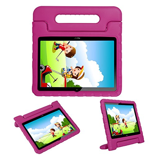 i-original Compatible with Huawei MediaPad T3 10-In Case,Shock Proof Honor Play Pad 2 9.6-In EVA Case for Kids Bumper Cover Handle Stand,Convertible Handle Lightweight Protective Cover(Magenta)