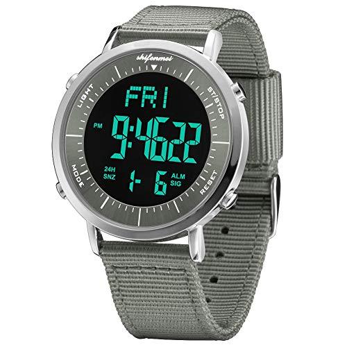 shifenmei Digitale Uhren Digital Sports Watch Alarm stündlich Chime Stoppuhr 12/24H Datum EL Hintergrundbeleuchtung Outdoor Multifunktions Sport Digitaluhr für Männer Frauen Kinder (Gray-N)
