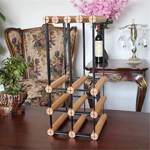 TUHFG Botellero de vino, estante de madera, estante de vino, con 6 jaulas de botellas y 6 soportes de vidrio de tallo largo, estante de almacenamiento de vino
