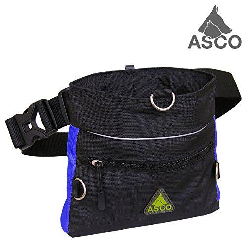 ASCO Futterbeutel, Leckerlibeutel für Hunde, Pferde mit Einhand-Schnappverschluss, 20x20cm, Premium Futtertasche blau AC64TB