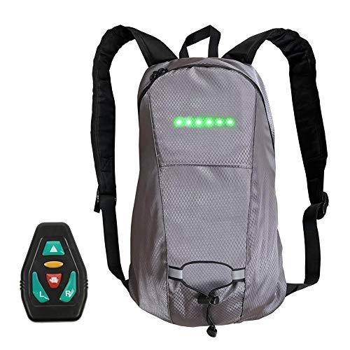 N/P 15L LED Clignotants Bike Pack/Sac à Dos LED avec indicateur de Direction - Lampe de sécurité pour Sac Rechargeable USB pour Faire du vélo la Nuit, vélo étanche et sûr - Gris
