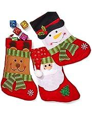 THE TWIDDLERS 3 Calcetines Navideñas Vintage para Llenar y Colgar, 36cm  Botas Navidad, Medias Navidad  Papá Noel, Rudolf el Reno, Muñeco de Nieve  Adornos Árbol de Navidad, Chimenea Decorativa.