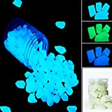 GeniusCells Glow in The Dark Stones for Concrete Glow Path Rocks Pebbles (Stone, Blue-Green)