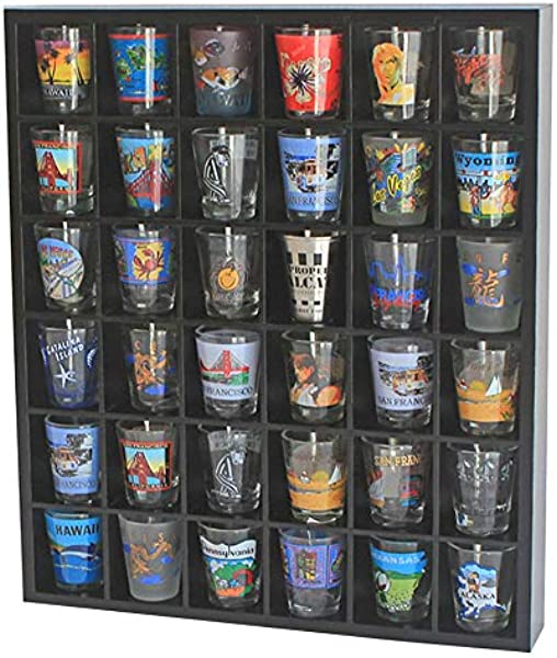 Wood Shot Glass Wall Curio Display Case Cabinet Display Stand Wall Shelf Black