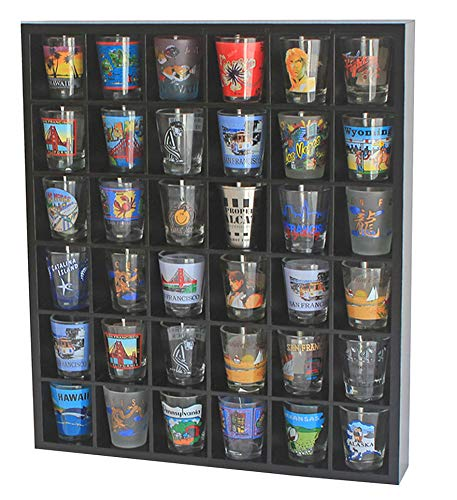 Shot Glass Display Case Rack Wall Shelves Shadow Box, Black, No Door (36 Slots, No Door)