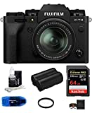 Fujifilm X-T4 Mirrorless Digital Camera with XF 18-55mm f/2.8-4 R LM OIS Lens (Black) Bundle, Includes: SanDisk 64GB Extreme PRO SDXC Memory Card, Spare Fujifilm NP-W235 Battery + More (7 Items)