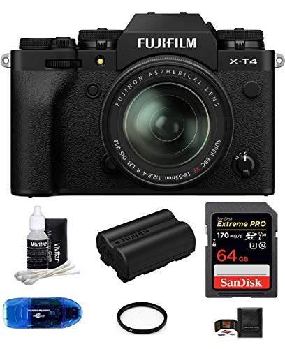 Fujifilm X-T4 Mirrorless Digital Camera with XF 18-55mm f/2.8-4 R LM OIS Lens (Silver) Bundle, Includes: SanDisk 64GB Extreme PRO SDXC Memory Card, Spare Fujifilm NP-W235 Battery + More (7 Items)