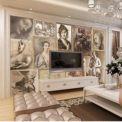 Apoart Papel Pintado Salón Decoración De La Cabecera Pintura 3D Retro Renacimiento Maestro Boceto Fondo Papel De Parede350Cmx245Cm
