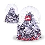 TopSpirit® Schneekugel 3D Switzerland Black & White - mit Matternhorn/Zermatt - Schweizer Fahne und mit Schweizer Sujets 6 cm