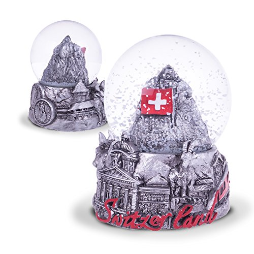 TopSpirit® sneeuwbol 3D Switzerland Black & White - met Matternhorn/Cermat - Zwitserse vlag en met Zwitserse Sujets 6 cm