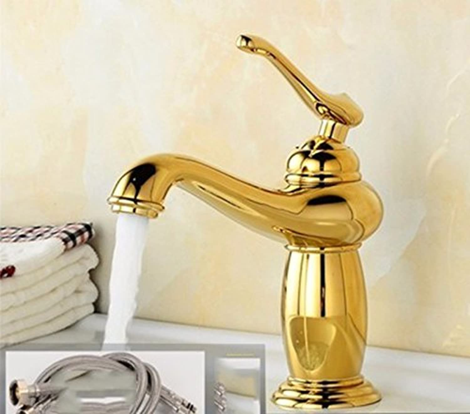 AWXJX European style retro style copper hot and cold toilets and washing the face Single Hole a raised bathroom water tap
