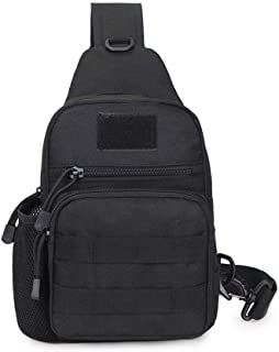 Men's Tactical Sling Bag Chest Shoulder Molle Small Daypack Backpack for Outdoor Cycling Hiking Camping Trekking by Saigain