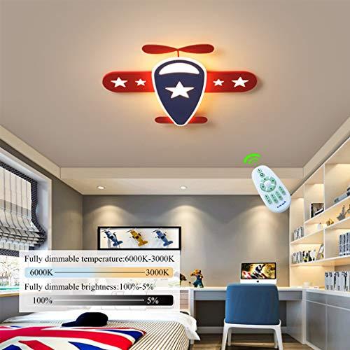Luz De Techo LED Moderna, Los Niños De La Lámpara Niño Niña Lámpara Del Techo Del Avión De Dibujos Animados De Metal Acrílico Pantalla Dormitorio Interior Living,Dimmable,58 * 50 * 5cm/39W