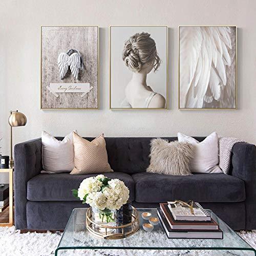 Canvas schilderijen gebruikt voor huisdecoratie, veer tekeningen, art prints met vleugels, muurschilderingen, moderne woonkamer, zwart-wit minimalistische schilderijen, 40x60cmx3