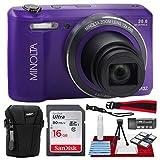 Minolta MN12Z 20 Mega Pixels HD Digital Camera w/12x Optical Zoom (Purple) + 16BG + Case + Strap Accessories Bundle