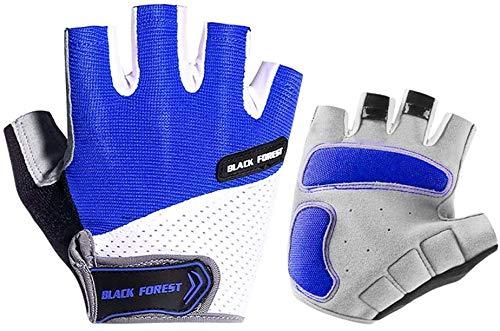 LLLKKK - Guantes de ciclismo transpirables para hombres y mujeres, antideslizantes, absorbentes de medio dedo para gimnasio, ciclismo de montaña, equitación, correr, ejercicio, azul, mediano, azul