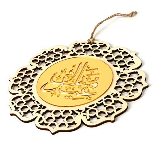 belupai Islam Eid Ramadán Mubarak - Adorno de madera para colgar con flores