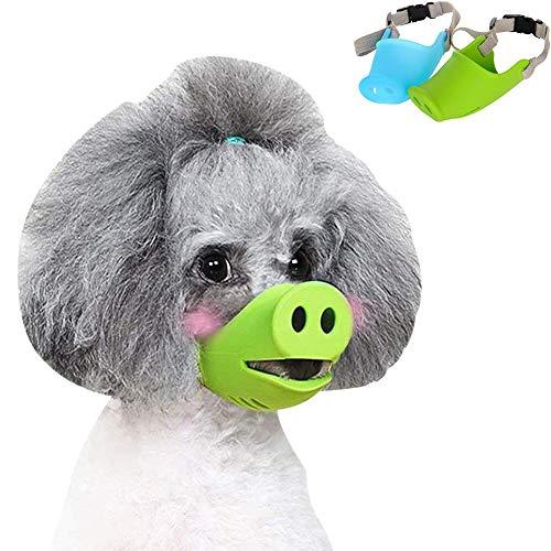 STKJ Anti Biss Hund Silikon Maske Maulkörbe, Hund Anti Beißen/Bellen Maulkorb Lustige Schwein Mund Form Welpen Maulkörbe Masken (2 Stücke),M