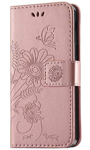 kazineer Galaxy A6 2018 Hülle, Handyhülle Samsung Galaxy A6 2018 Leder Tasche Schutzhülle Brieftasche Etui für Samsung A6 2018 Hülle (Pink-Gold)