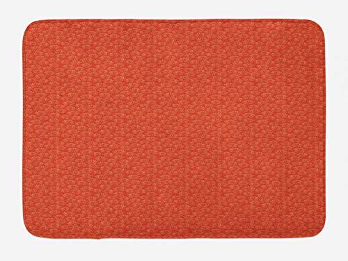 ABAKUHAUS japonés Tapete para Baño, Calentar Flores de Loto del Este, Decorativo de Felpa Estampada con Dorso Antideslizante, 45 cm x 75 cm, Bermellón y Crema