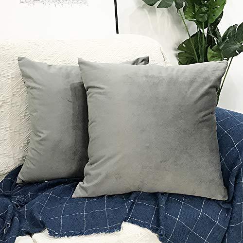 JUSHUN Fundas de Cojines,Terciopelo Suave Decorativa Fundas de Almohada Funda de cojín para sofá Dormitorio Coche 18 * 18 Pulgada 45 * 45 cm Pack de 2 (Gris)