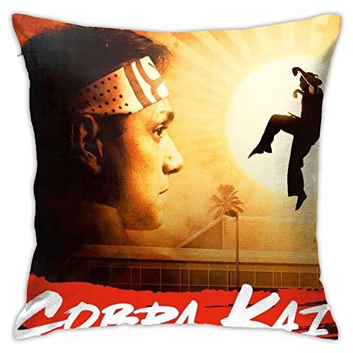 Cobra Kai - Fundas de cojín cuadradas de karate para sofá, silla, fundas de almohada decorativas para sala de estar, cama, coche, 45,7 x 45,7 cm