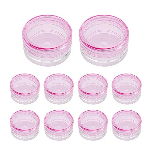Pots de Maquillage Transparent Boîte de Cosmétique en Plastique Pot de Rangement Vide 5ml pour Crème Échantillons Poudre (Rose, 10pcs)