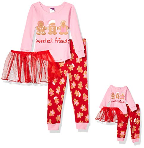 Dollie & Me Little Girls' Snug Fit Pajamas with Matching Doll Outfit, 5-Piece, Pink/Red, 6