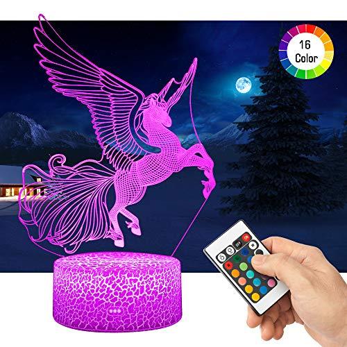 3D Einhorn Lampe LED Nachtlicht mit Fernbedienung, QiLiTd 16 Farben Wählbar Dimmbare Touch Schalter Nachtlampe Geburtstag Geschenk, Frohe Weihnachten Geschenke Für Mädchen Männer Frauen Kinder