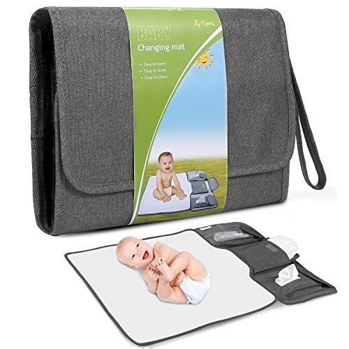 Portable Diaper Changing Pad Large Size Detachable Baby Changing Pad Waterproof Travel Baby Changing Mat with Wrist Strap Can Be Hanged The Best Gift for Newborn Baby - D.Gray