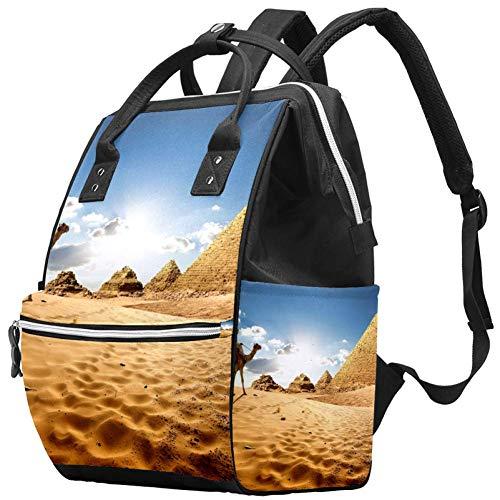 Pyramides du désert de chameau Nappy Changing Bag Diaper Sac à dos avec poches isolées, sangles de poussette, grande capacité multifonctionnel élégant sac à couches pour maman papa en plein air