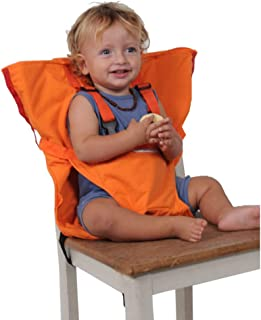 Baby Chair Belt, PUAO Washable Portable Travel High Chair Booster Baby Seat with Straps Toddler Safety Harness Baby Feeding (Size Adjustable, Orange)