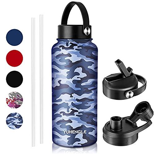 950ml Edelstahl Trinkflasche, Active flask mit 2Strohhalm 3Deckel, Auslaufsicher bei Kohlensäure, BPA-Frei-Isolierflasche,Wasserflasche, Fahrrad Thermosflasche Sport,Fitness,Outdoor (Blaue Tarnung)