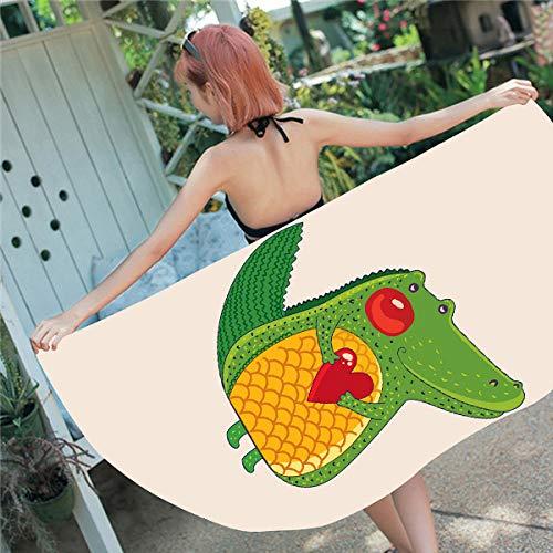 BCDJYFL Impresas Toalla De Playa Cocodrilo De Dibujos Animados Toallas De Playa Microfibra Toallas De Yoga para Exteriores Suaves Y Absorbentes.70X150Cm