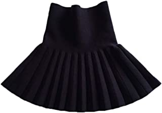 Aulase Girl Stretch Cotton Knit Casual Classic Plaid Pleated A-Line Skater Skirt