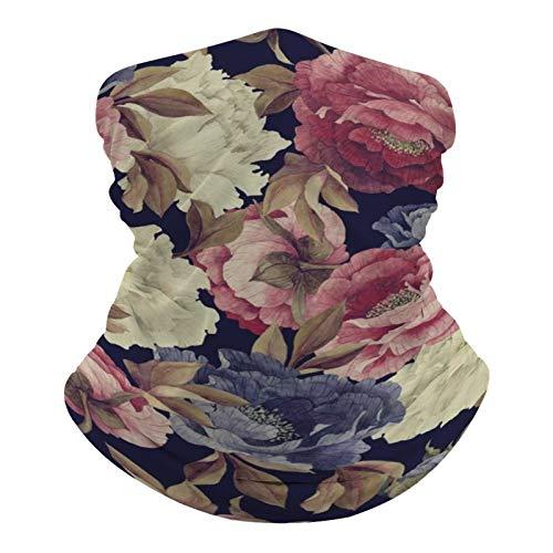 DKE&YMQ Pañuelo unisex multifuncional, con patrón elástico, transpirable, para deportes, con resistencia a los rayos UV, diseño de flores, color rosa