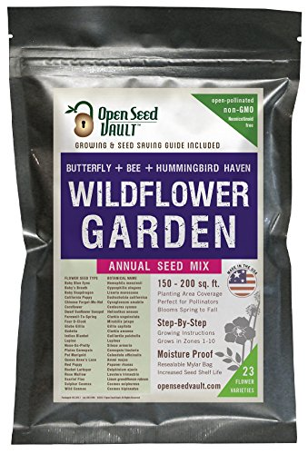 Wildflower Seeds Bulk Annual Seed Mix Plus Full Growing Guide by Open Seed Vault