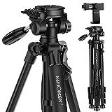 K&F Concept 173cm leichtes Stativ Kamerastativ aus Aluminium mit 3-Wege-Schwenkkopf für Smartphone DSLR SLR Canon Nikon Sony Olympus mit Handy Halterung, Schwarz