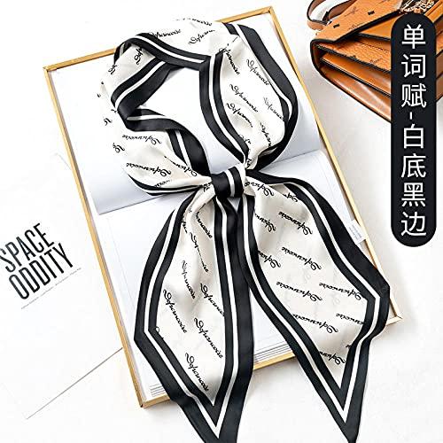 ZAMi Pañuelo de Seda Fina Mujer Primavera y otoño Tira pequeña con Camisa decoración de Moda Cinta Estrecha/Deriva-Fondo Blanco