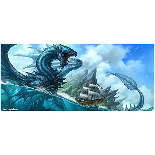 Ruifengsheng Large Gaming Mouse Pad,Extra Large Size Mat,Extended XXL Size Mouse Pad, Non-Slippery Rubber Base,(Edge Stitched) (35.4' 15.7') (90x40 Blue Dragon07)