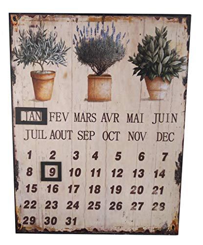 LB H&F Lilienburg Dauerkalender Retro Kalender Blechschild Garten mit Magnet