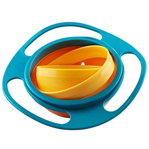 Jzhen Enfants Évitez Les Aliments Renverser, à 360 de Rotation, Gyroscope Anti-Renversement de Bol, Disque de Bols Volant avec Couvercle