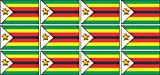 Mini Aufkleber Set - Pack glatt - 50x31mm - Sticker - Simbabwe - Flagge - Banner - Standarte fürs Auto, Büro, zu Hause & die Schule - 12 Stück