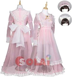 SOLAI コスプレ メイド メイド服 透け透け セクシー 過激 猫 (M, ピンク)