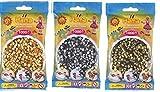 Happy Price Toys Midi Bügelperlen Konvulut 3 Farben (1000 Gold,1000 Silber,1000 Bronxe) + Bügelanleitung mit 3 Design Vorlagen