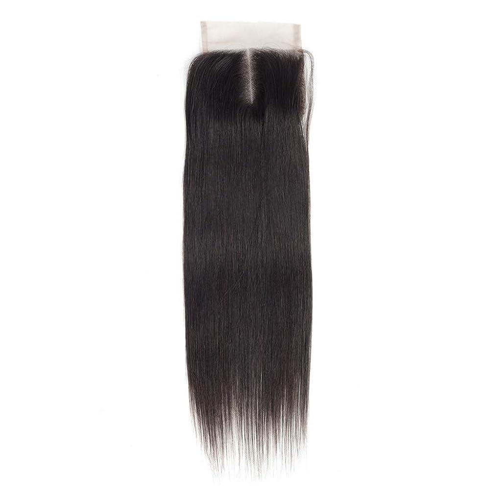 航空機すみません打倒HOHYLLYA 女性のRemy人間の髪の毛4×4レース前頭閉鎖中央部ナチュラルカラーストレート横糸ヘアエクステンションロングストレートヘアウィッグ (Color : ブラック, サイズ : 18 inch)