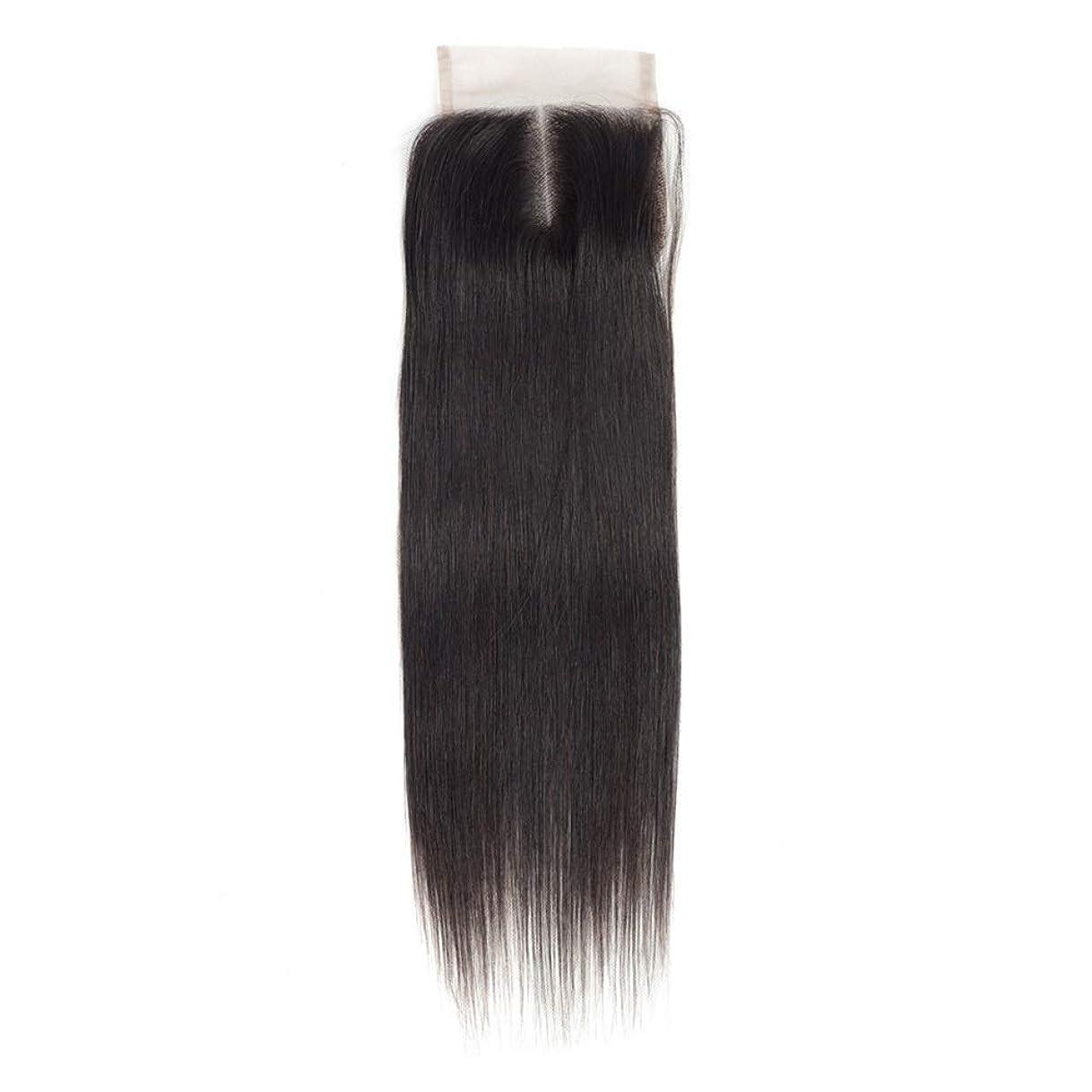 中間飼料鉄道HOHYLLYA 女性のRemy人間の髪の毛4×4レース前頭閉鎖中央部ナチュラルカラーストレート横糸ヘアエクステンションロングストレートヘアウィッグ (Color : ブラック, サイズ : 18 inch)